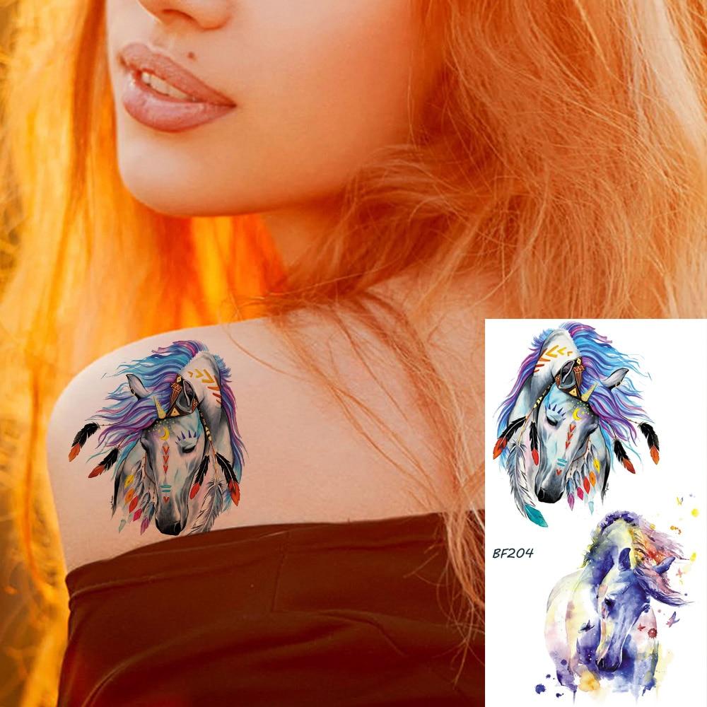 Flash Cute Unicorn Children Women Horse Tattoos Temporary For Kids In Bulk Tato Fake Stickers Cartoon Custom Body Arm Art Tattoo