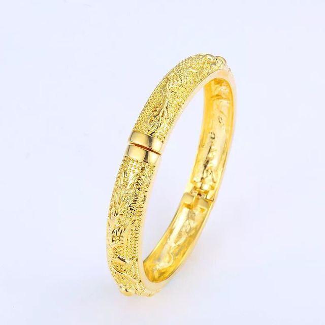 MxGxFam Bridal Jewelry Dragon and Phoenix Bangles Bracelets for Women Wedding 19cm 24 k Pure Gold Color Classic Style