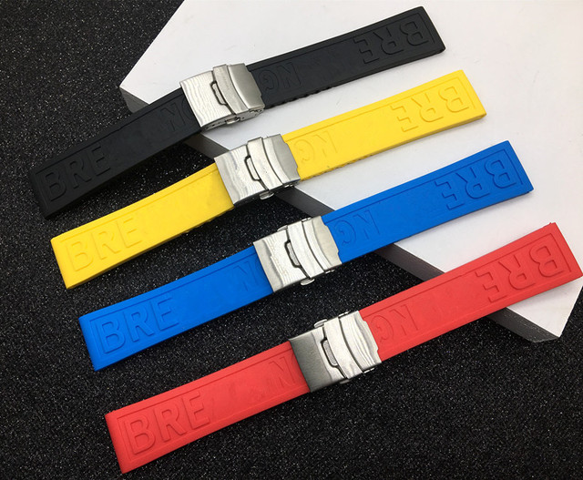 Brand 22mm 24mm Black Blue Red Yellow Bracelet Silicone Rubber Watch Band watchb
