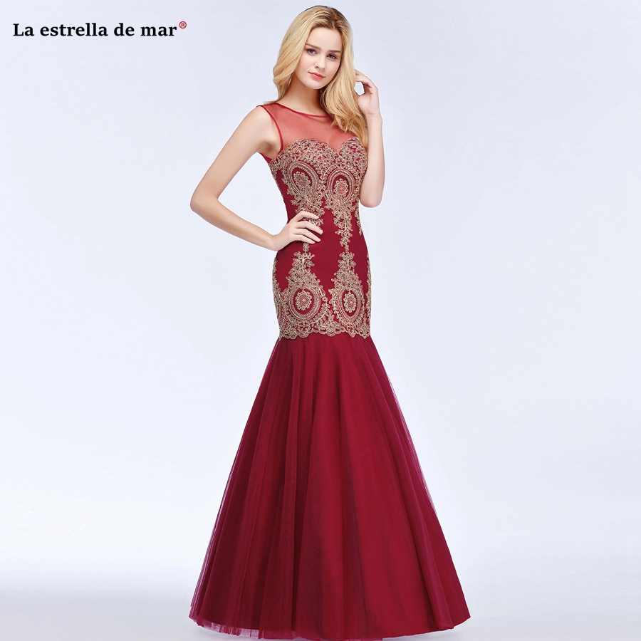 brautjungfer kleider new Scoop neck tulle applique gold Burgundy navy blue sexy mermaid   bridesmaid     dresses   long high quality