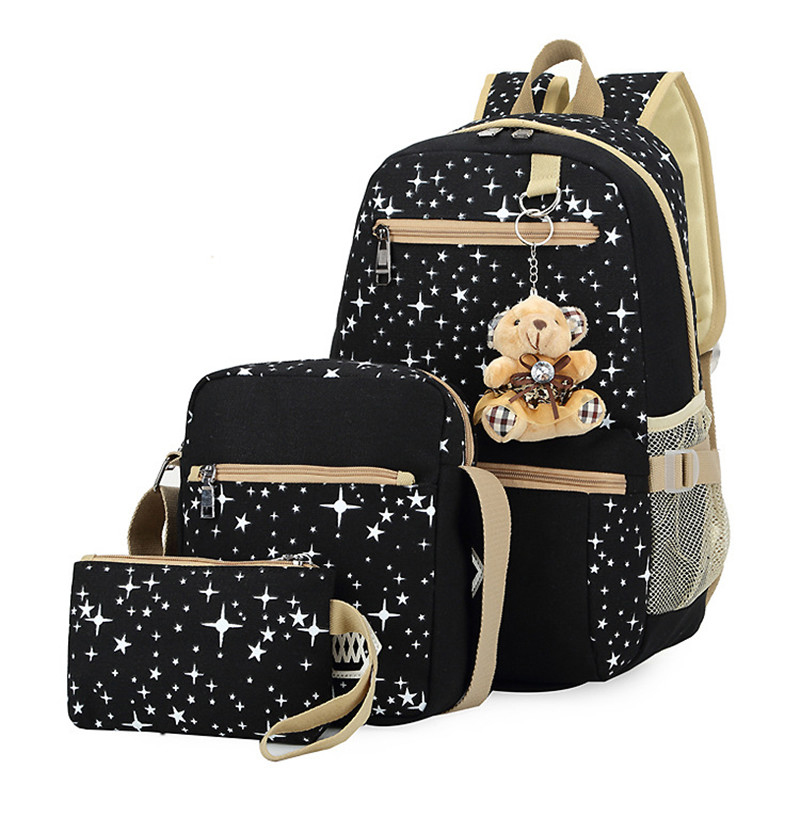 3pcs/set Women Backpack School Bags Star Printing Cute Backpacks With Bear For Teenagers Girls Travel Bag Rucksacks Mochila college girl canvas 3pcs backpack letters printing women usb school backpacks schoolbag for teenagers student book shoulder bags