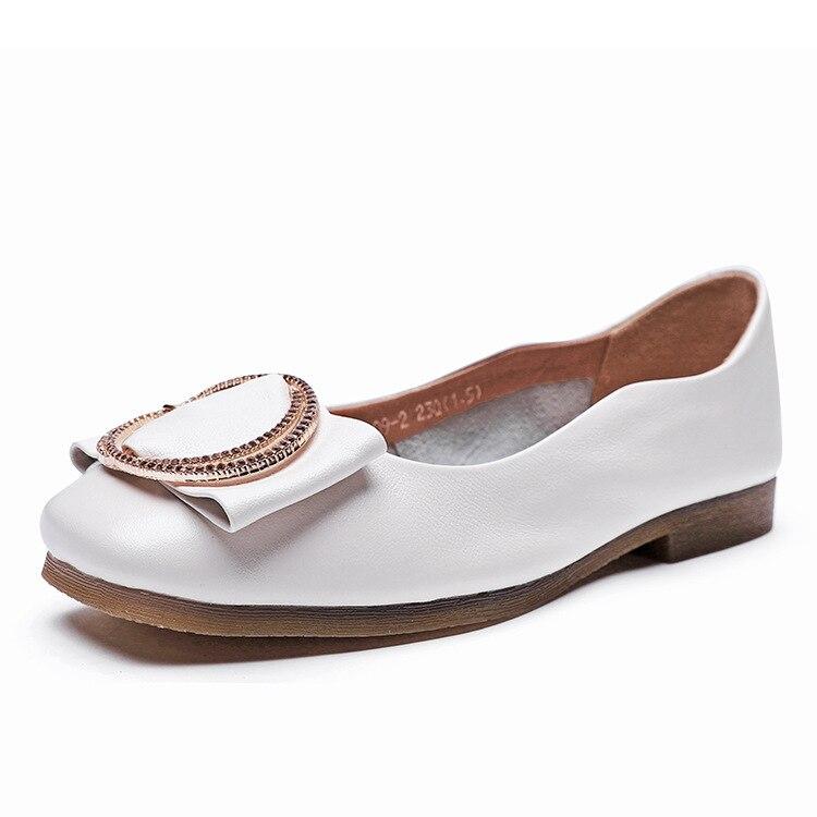 Tête Nouvelles En Plat Beige Arc mère blanc De Automne Fond Grand Carrée Mode Chaussures Cuir 2018 Grand Femmes À Simples tshrQd