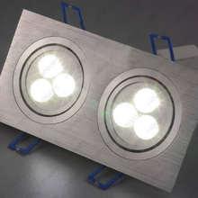 Высокая мощность 6 Вт/10 Вт/14 Вт/18 Вт/24 Вт Прямоугольник светодиодный потолочный светильник с двойной головкой лампы затемнения/не гостиной серебряный корпус