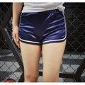 Бренд Дизайн Женщины Моды Эластичный Пояс Глянцевая Шорты Сторона Полоса Бегун Шорты