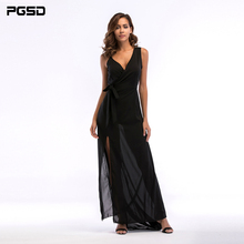 PGSD 2019 New Simple Fashion Pure color Women Clothes V-neck side split sling Frenulum Bow black chiffon sexy long dress female pgsd autumn winter sports women clothes fashion simple pure color pocket midriff baring frenulum hooded sexy casual suit female