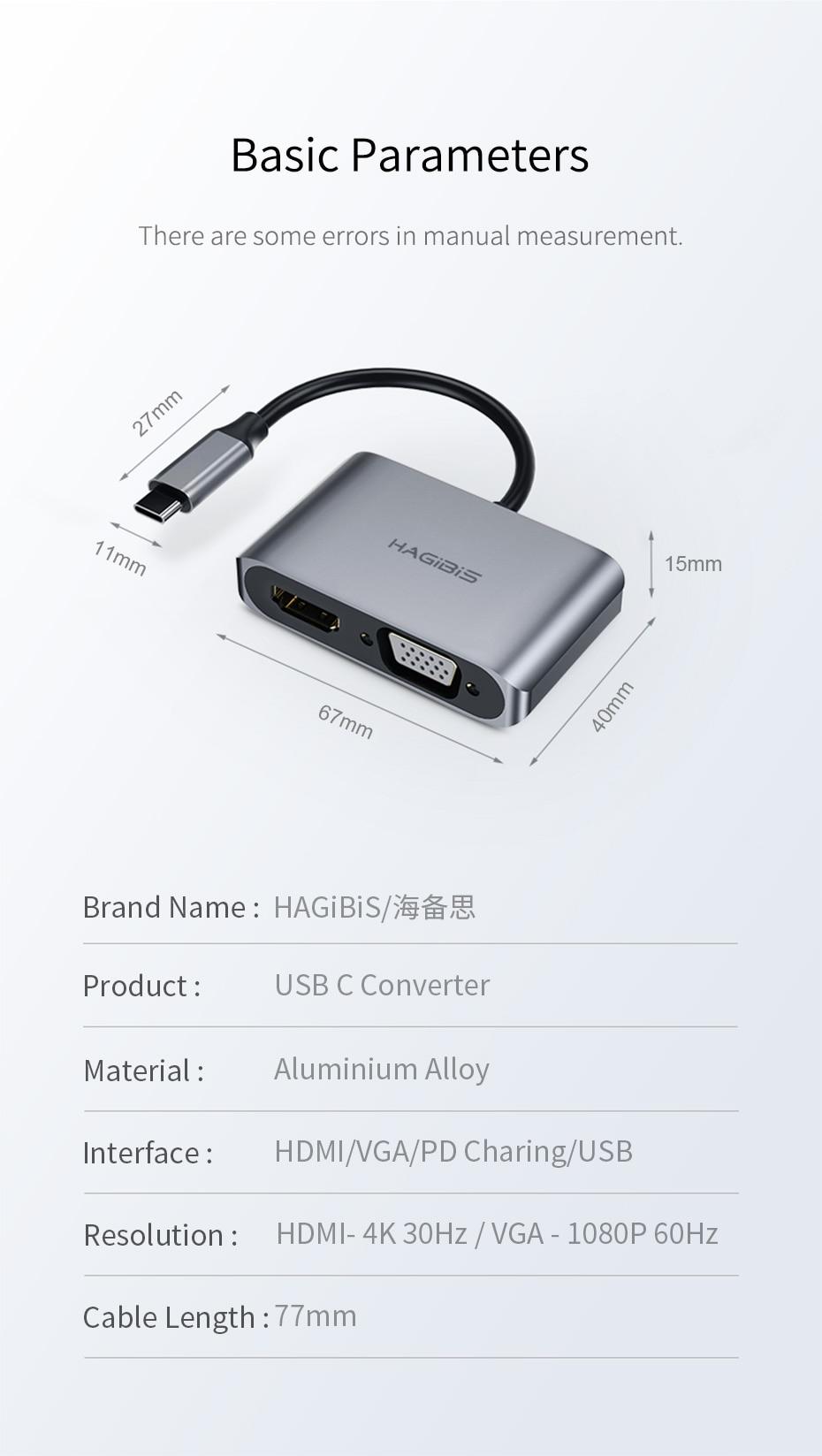 USB C to HDMI VGA 17