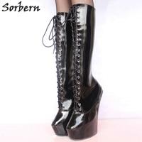 Sorbern Woman Boots 20CM High Heels 5CM Platform Fetish Sexy Knee High Cross Tied Heelless Wedge