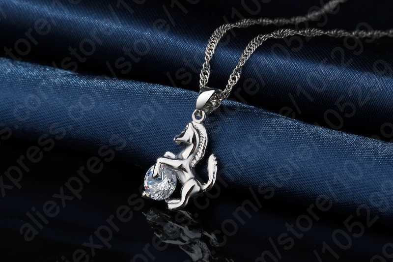 Лучший Модный кулон в виде лошади из стерлингового серебра 925 пробы, ювелирные украшения циркониевое ожерелье кубической формы, серьги для женщин, свадебный набор, подарок