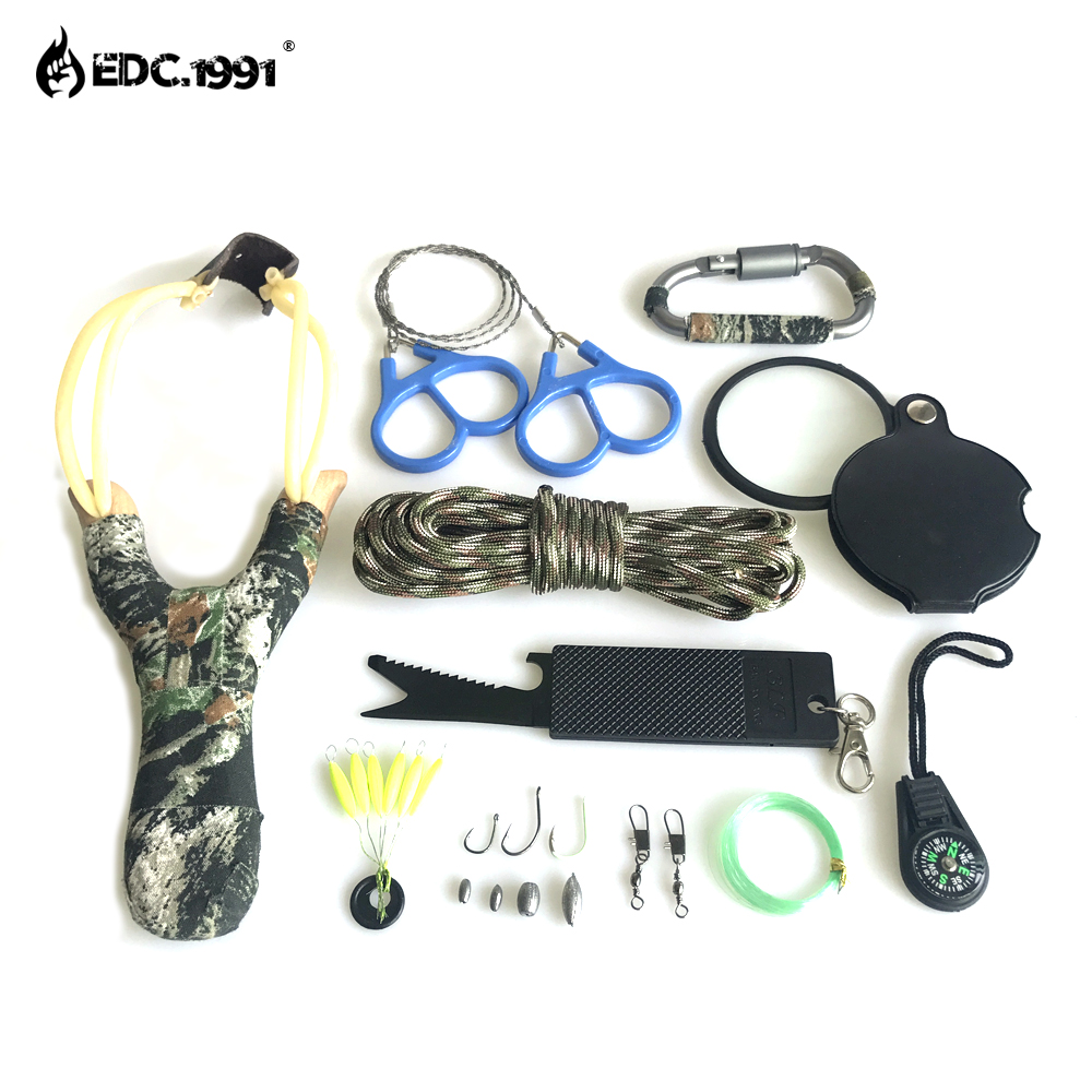 EDC.1991 12 in1 Outdoor Camping Equipment Survival Kit Paracord 550 With Knife Carabiner Edc Tools for compass Wire Saw