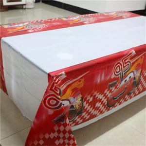 Image 2 - 1pcs 1.08x1.8M Cartoon Cars Theme Party Birthday Disposable Table Cloth Table Cover Map Party Supplies Decoration