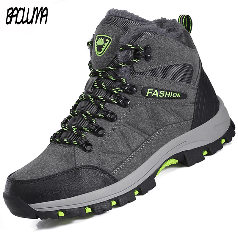 Classic Men Winter Boots Plush Warm Men Snow Boots Waterproof Non-slip Men Ankle Boots Lace-Up Outdoor Male Hiking Shoes 39-45