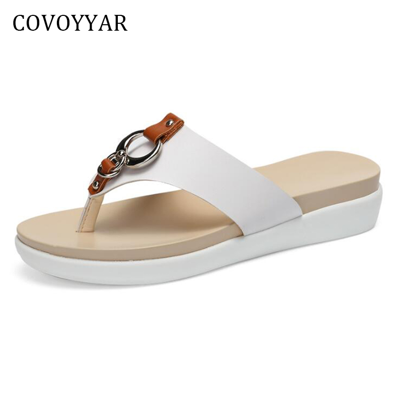 COVOYYAR Rivets Metal Decor Women Sandals Ladies Flip Flops 2018 Fashion New Platform Summer Shoes Women Slippers WSS304 covoyyar 2018 fringe women sandals vintage tassel lady flip flops summer back zip flat women shoes plus size 40 wss765