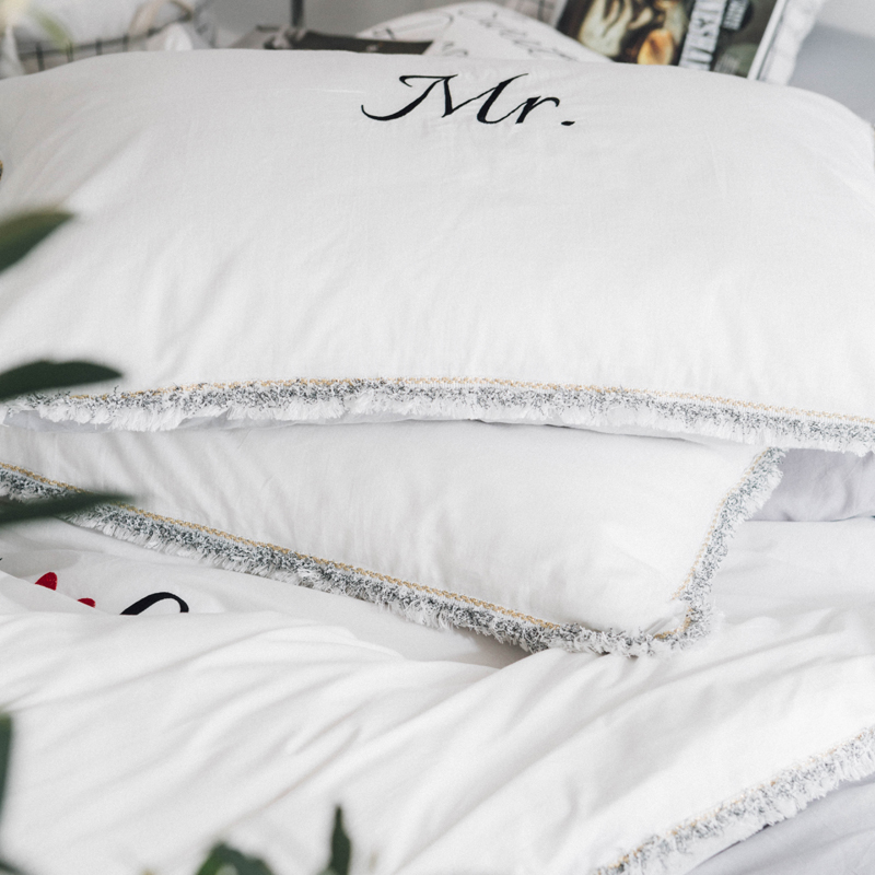 Letters And Heart Embroidery And Print Bedlinens Washed Cotton Twin Queen King Size Bedding Sets Pillowcases Duvet Cover Set Power Source