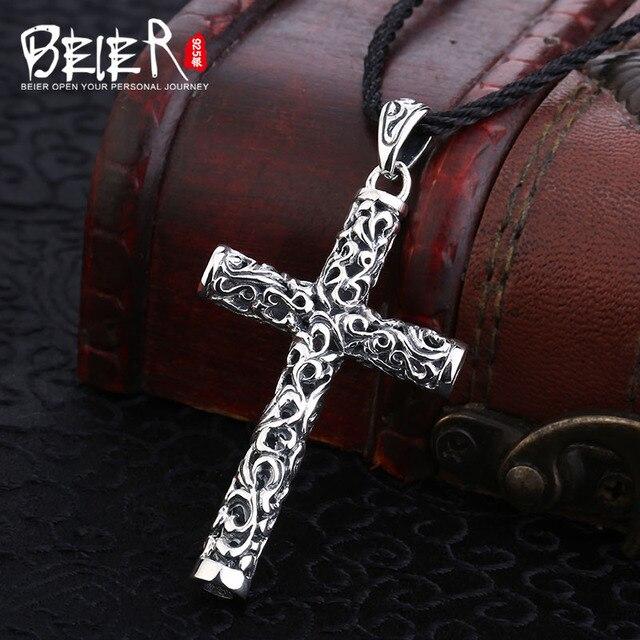 Beier cửa hàng mới 100% 925 thái bạc sterling silver chữ thập pendant necklace đồ trang sức thời trang nhân đạo miễn phí dây A2473