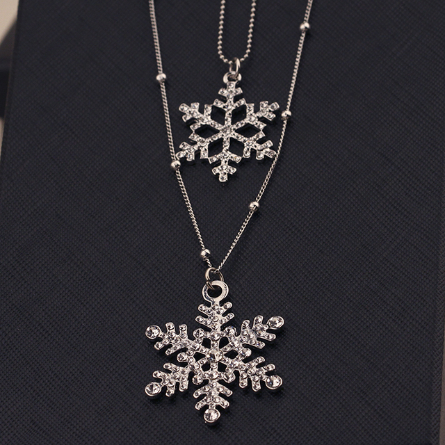 New Fashion Silver Rhinestone Crystal Snowflake Pendant Necklace Sweater Long Chain Double Layers Necklace & Pendant Jewelry