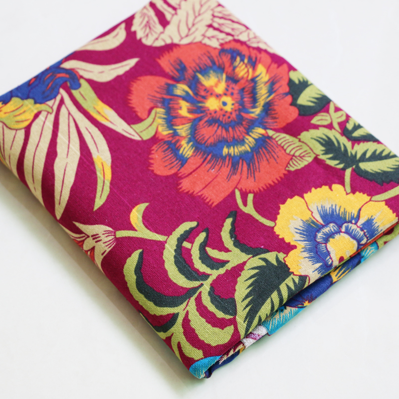 100cm*140cm retro flower cotton fabric for dress ethnic sewing material handmade linen/cotton red