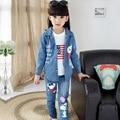 Детская одежда Девочка ребенок установить 2015 осень джинсовой случайный костюм-тройку, футболка + траншеи + одежда брюки