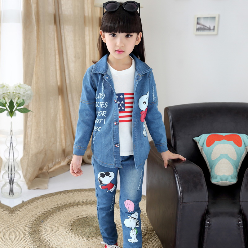 Children's clothing female Girl child set 2015 autumn denim casual three-piece suit,t-shirt+ trench+outerwear trousers 2014 woolen female child outerwear bow loose female child spring trench new arrival