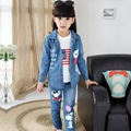 Children's clothing female Girl child set 2015 autumn denim casual three-piece suit,t-shirt+ trench+outerwear trousers