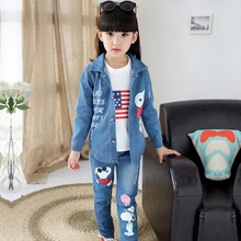 Children s clothing female Girl child set 2015 autumn denim casual three piece suit t shirt