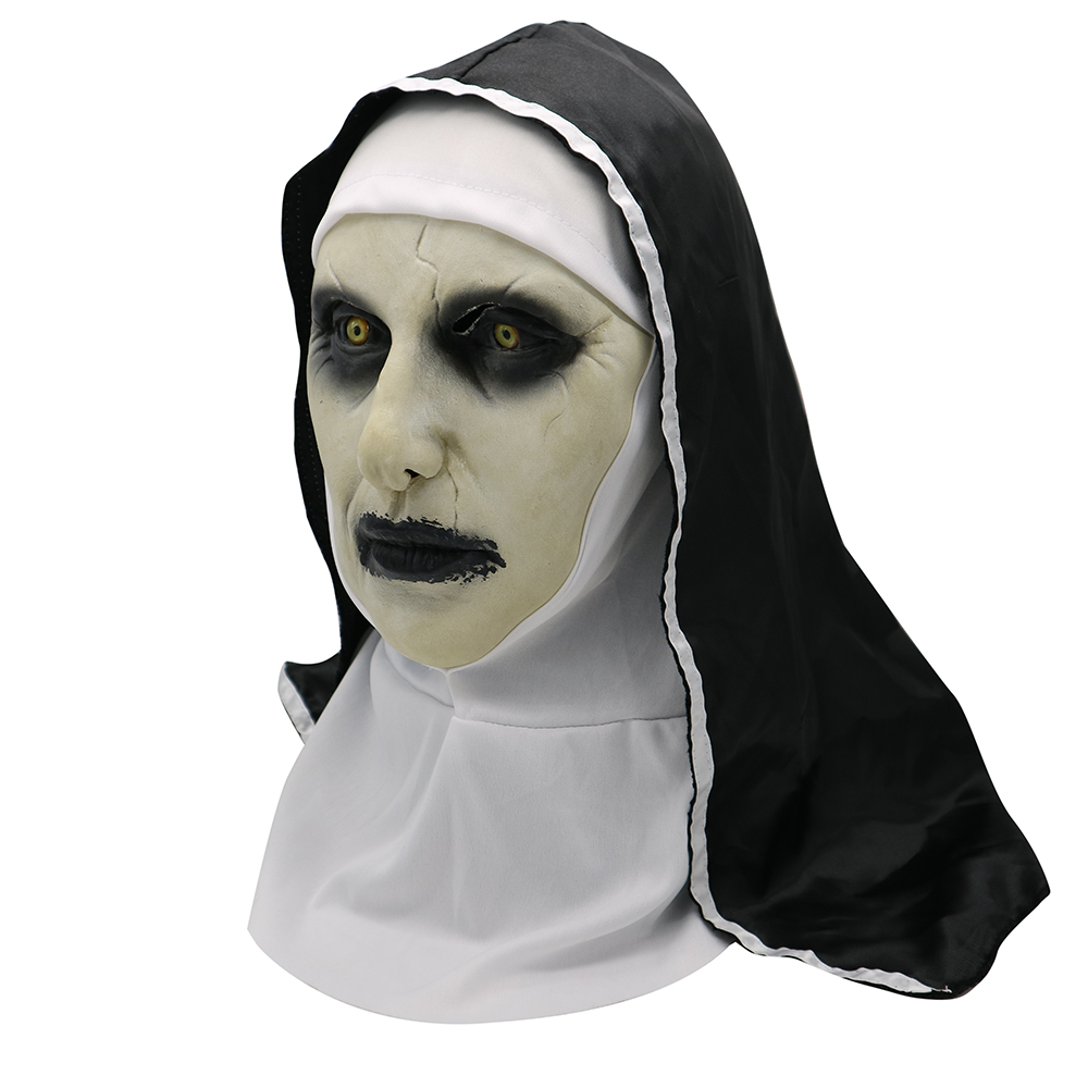 Movie The Nun Mask Horror Mask Halloween Party Props The Conjuring Valak Scary Latex Masks With Headscarf Cosplay Mask