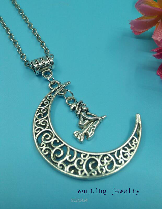 1pcs Hot Fashion Vintage Alloy Sweater Chain Moon Statement Collars necklace With Little Witches Broom Women Girls Jewelry Gift