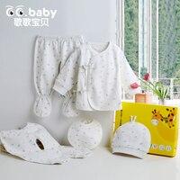 5 pçs/set New Born Roupa Do Presente Do Bebê Conjunto de Algodão Bebê Infantil Conjuntos de roupas Calças Leggings Roupa Interior Recém-nascidos Cap Chapéu Babadores Do Bebê terno