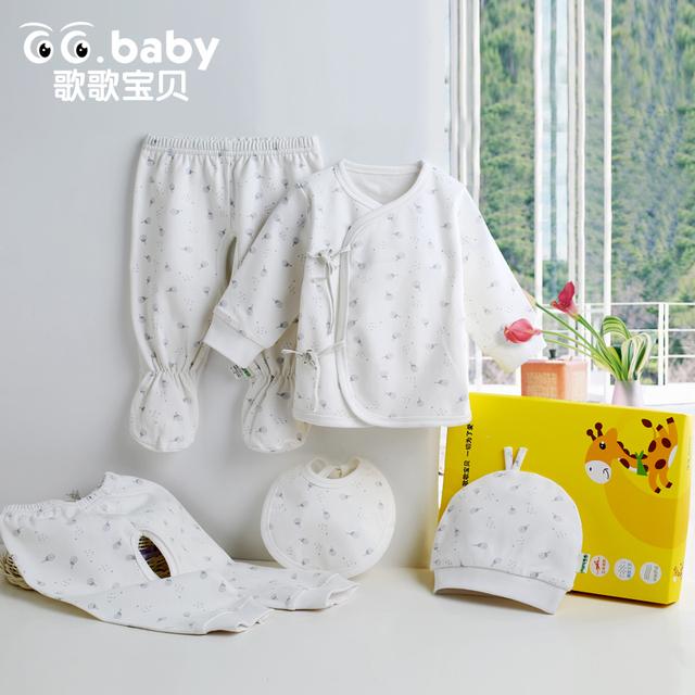 5 unids/set Recién Nacido Del Regalo Del Bebé Fijado Ropa de Algodón Infantil Del Bebé Sistemas de la ropa Pantalones Ropa Interior Casquillo Recién Nacido Sombrero Baberos de Bebé traje