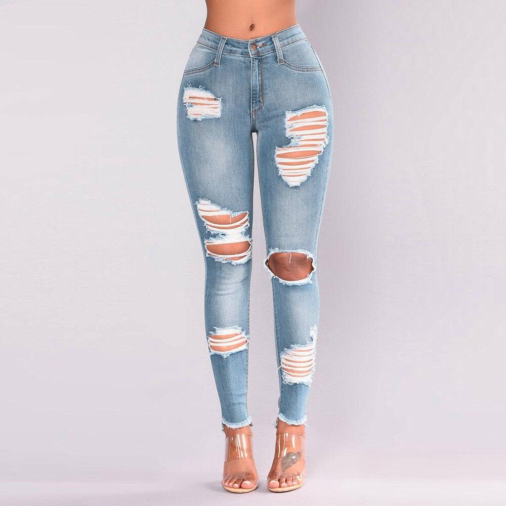 Fashion Women   Jeans   Denim Hole Female High Waist Stretch Slim Sexy Pencil Pants #4O10