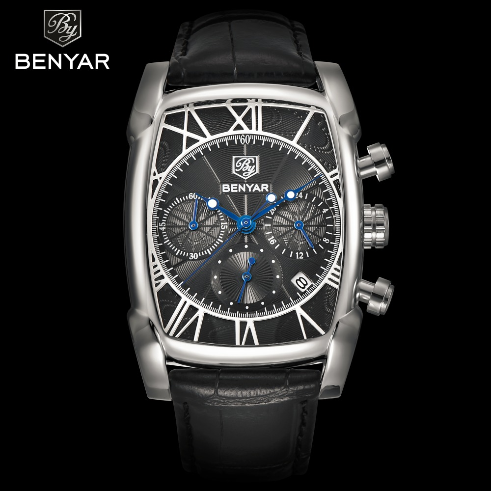 цены BENYAR Chronograph Men's Watches Classic Rectangle Waterproof Leather Quartz Men Watch Luxury Fashion Sport relogios masculinos