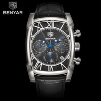 BENYAR Chronograph Men's Watches Classic Rectangle Waterproof Leather Quartz Men Watch Luxury Fashion Sport relogios masculinos