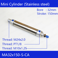 Free shipping Pneumatic Stainless Air Cylinder 32MM Bore 150MM Stroke , MA32X150 S CA, 32*150 Double Action Mini Round Cylinders