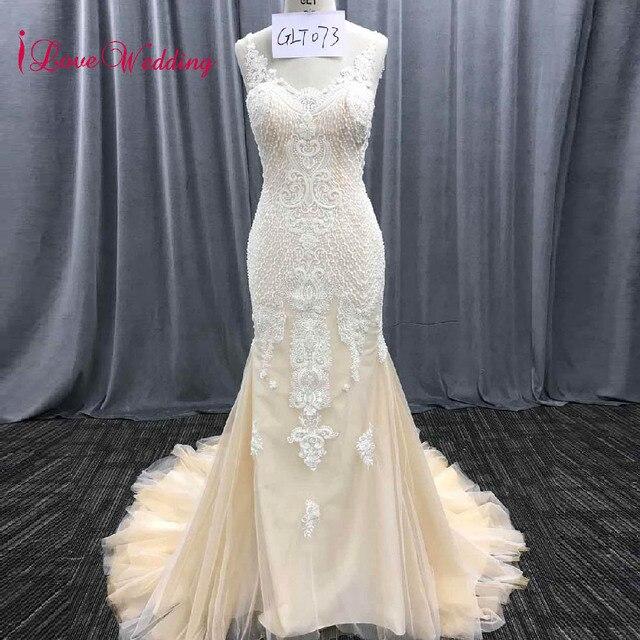 iLoveWedding 2018 Vintage Lace Mermaid Wedding Dress Turkey Vestido de  Novia Sequin Lace Sheer Robe mariee Sexy Bridal Gowns 190b42cd3b2e
