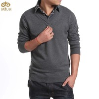 Large Size Solid V Neck Sweater Men 5XL 4XL Brand Clothing Turn Down Collar Sweaters 3Color