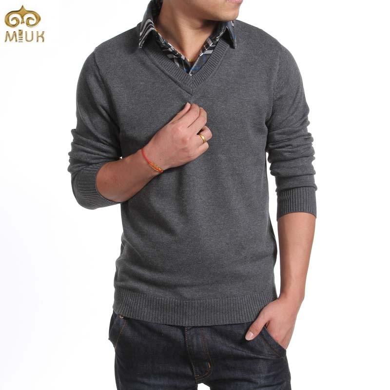 Compra mens negro con cuello en v suéter online al por