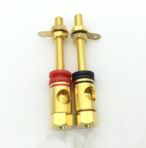 4 pièces/lot 4mm plaqué or pur cuivre banane prise écrou banane connecteur rouge + noir