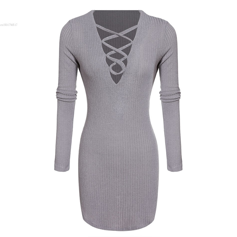 Spring Autumn knitted dress women Long sleeve v neck lace up Casual bodycon dress mini vestidos  top quality 41 free shipping women lace dress 2016 autumn style good quality half sleeve casual dress o neck 55