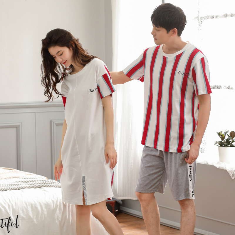 Women and men new couple summer cotton thin comfortable men short sleeve shorts two piece pajama sets and women   sleepshirts