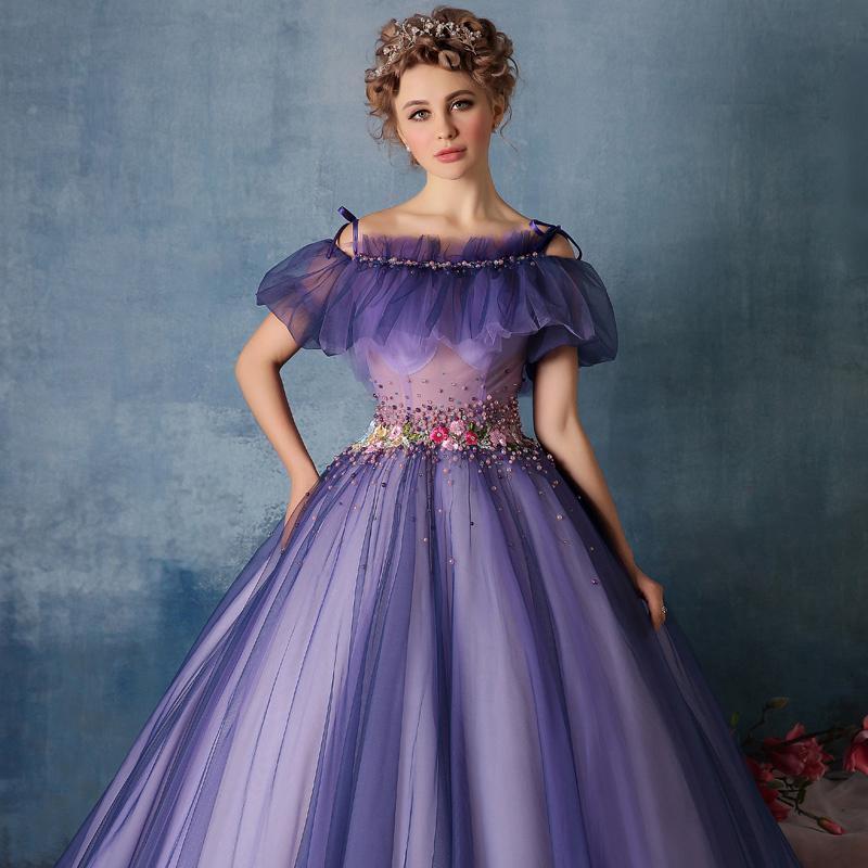 cc125187d56 DZ090 Elegant Purple Prom Dresses Ball Gown Abendkleider Tulle Flower  Beaded Plus Size Masquerade Evening Party Prom Dress-in Prom Dresses from  Weddings ...