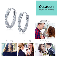 Sparkling Cubic Zirconia Sterling Silver Hoop Earrings Jewelry