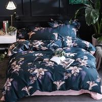Egyptian cotton Queen King size Bedding Set Leaf Floral print Modern Pastoral bed set cotton Bedsheets Duvet quilt cover set