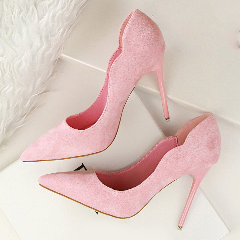 LAKESHI Suede Women Pumps 2018 New Fashion High Heels 10cm Solid Flock Shoes Woman Ladies Pumps Shoes Shallow Brand Women Shoes fashion women pumps flock high heels