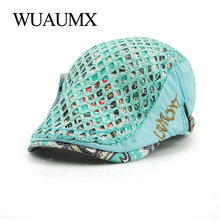 Wuaumx Summer Berets Hat For Women Cotton Sun Visor Blue Beret Female Spring Flat Cap Boina Masculina Adjustable