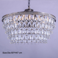 Retro Clarissa Glass Drops LED Crystal Chandeliers Lamp For Dining Bedroom Big French Empire Style Restoration