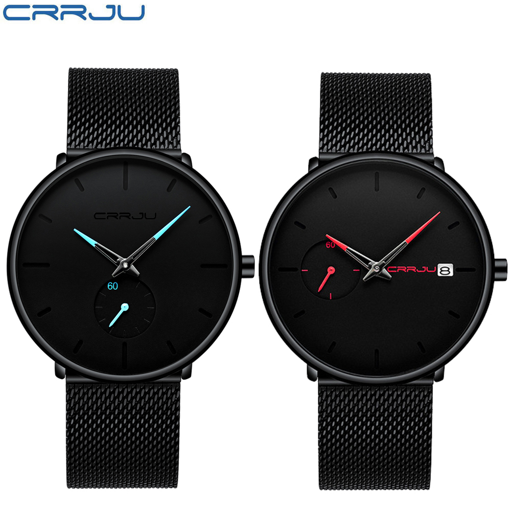 CRRJU Fashion Watch Waterproof Minimalist Slim Mesh Strap Wrist Watches For Couple Clock Set Men Women Luxury Sports WatchCRRJU Fashion Watch Waterproof Minimalist Slim Mesh Strap Wrist Watches For Couple Clock Set Men Women Luxury Sports Watch