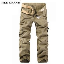 HEE GRAND Men Cargo Pants 2018 Casual Loose Style 100% Cotton Material Multi-pockets