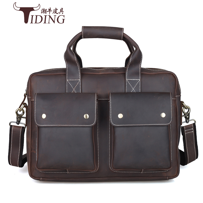 Brand Top Grade Male Men's Vintage Real Crazy Horse Leather Briefcase Messenger Shoulder Portfolio Laptop Bag Case Handbag 15