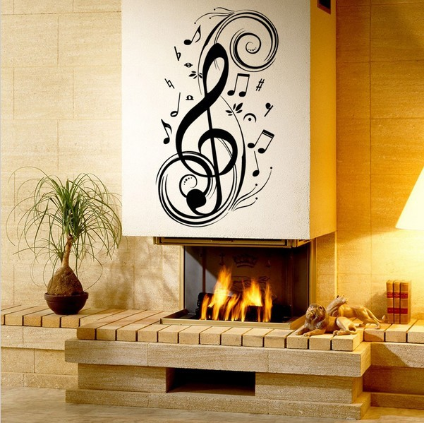 Notes Clef Piano Music Classroom Living Room Bedroom Backdrop Stickers PVC Art Home Stairs Decorative Mural Simple Decal