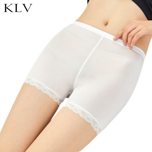Women Girl Summer Plus Size Safety Traceless Lace Trim Flat End Solid Color Stretchy Underpants Mid Rise Thin Boxer Shorts