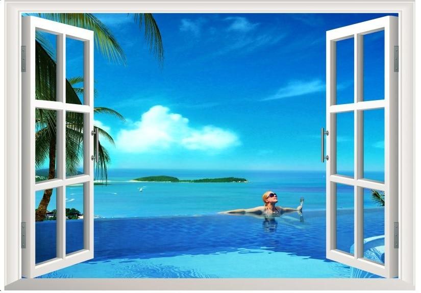 3d Large Wall Mural Wallpaper Hd Balcony Window Beach Sea: Aliexpress.com : Buy 2015 Newest Beach Corner 3D Window